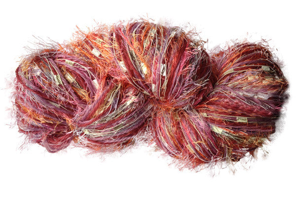 Stranded Skeins multi-strand art yarn in Coral Reef (coral/pink/citron/peach)