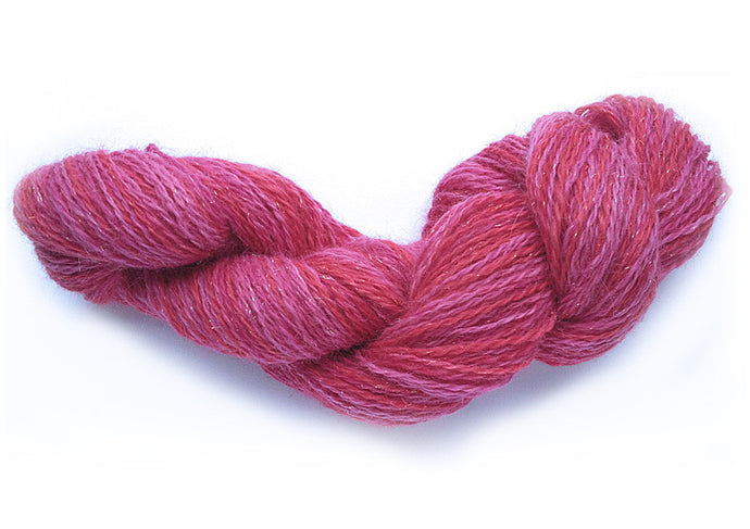 Hand-painted, sparkly luxury alpaca yarn in Cupid (pink/fuchsia/red)