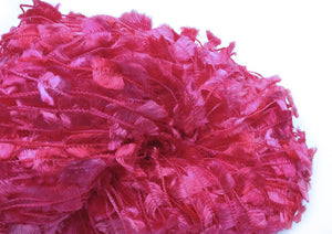 Hand-painted, shiny novelty flag-style yarn in Cupid (pink/fuchsia/red)