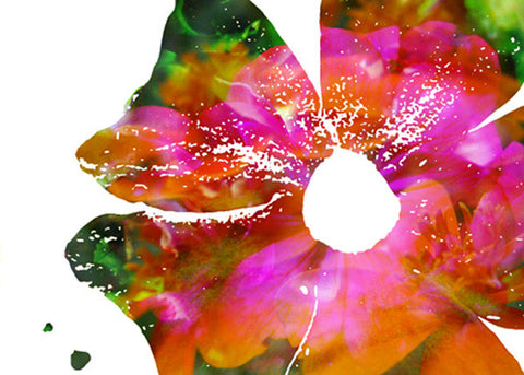 "Floral photo montage print on gallery-wrapped canvas, 24"" w x 20"" h, ready to hang"