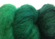 Load image into Gallery viewer, Hand-painted, luxury mohair/wool-blend yarn, set of 3 skeins in Emerald Sequence (deep greens)