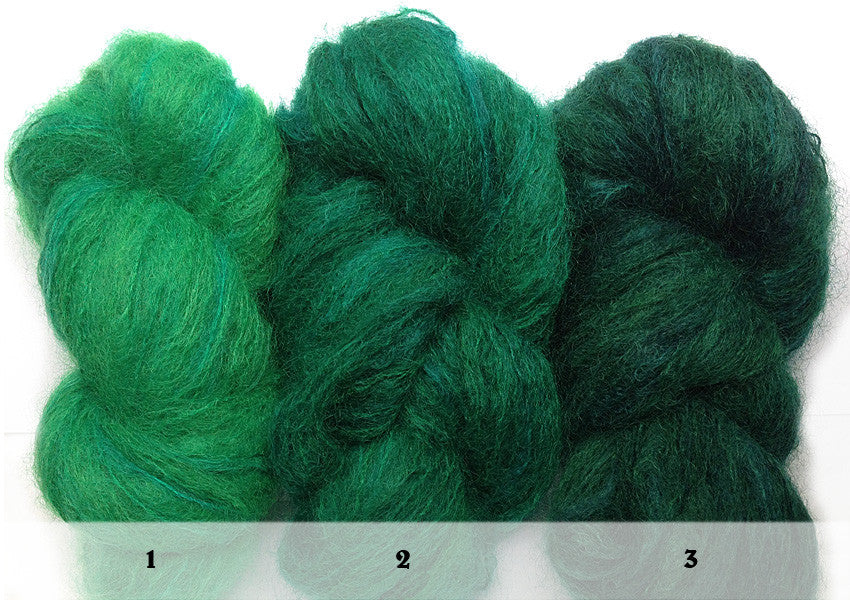 Hand-painted, luxury mohair/wool-blend yarn, set of 3 skeins in Emerald Sequence (deep greens)