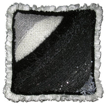 Load image into Gallery viewer, Entrelac Pillow Hand-knitted Sample with Ruffle Trim in Fade to Black