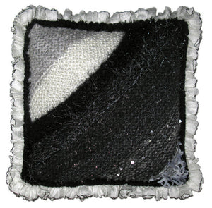 Entrelac Pillow Hand-knitted Sample with Ruffle Trim in Fade to Black