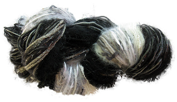 Scraplet Skeins multi-textured hand-tied yarn in Fade to Black