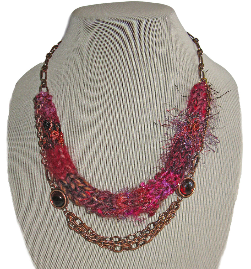 Multi-textured Art-Yarn Necklace in Garnet (wine-reds), with Cabochons & Chains
