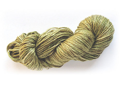 Hand-painted, luxury 100% silk worsted-weight yarn in Golden Sage (soft gold-sage-greens)
