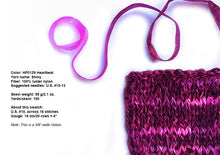 Load image into Gallery viewer, Hand-painted, soft, shiny novelty ribbon yarn in Heartbeat