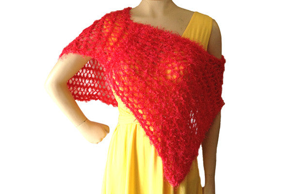 Hand-knitted lacy Summer Poncho Sample in Hot Poppy