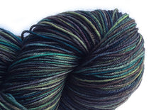 Load image into Gallery viewer, Hand-painted, Superwash merino wool sock-weight yarn in Labradorite (deep blue-greens, muted violet, greys)
