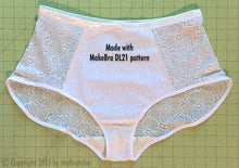 Load image into Gallery viewer, DIY Sheer White Lacy Panty Sewing Kit, Dyeable, FREE Wash Bag Included!