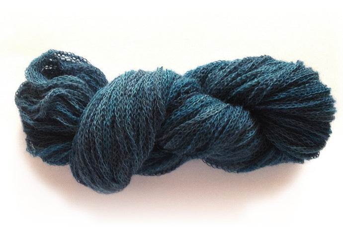 Hand-painted unusual 100% alpaca tubular-knit yarn in Marine