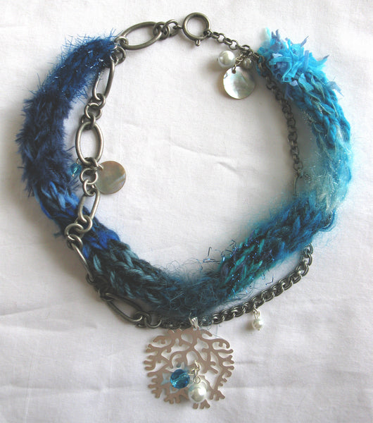 Multi-textured Art-Yarn Necklace in Mediterranean (blues with silver), with Pendant