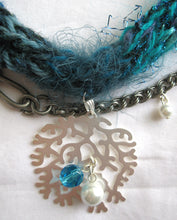 Load image into Gallery viewer, Multi-textured Art-Yarn Necklace in Mediterranean (blues with silver), with Pendant