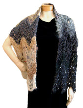 Load image into Gallery viewer, Scraplet Skeins Feather-and-Fan Scarf/Wrap Hand-knitted Sample in Never-Boring Neutrals