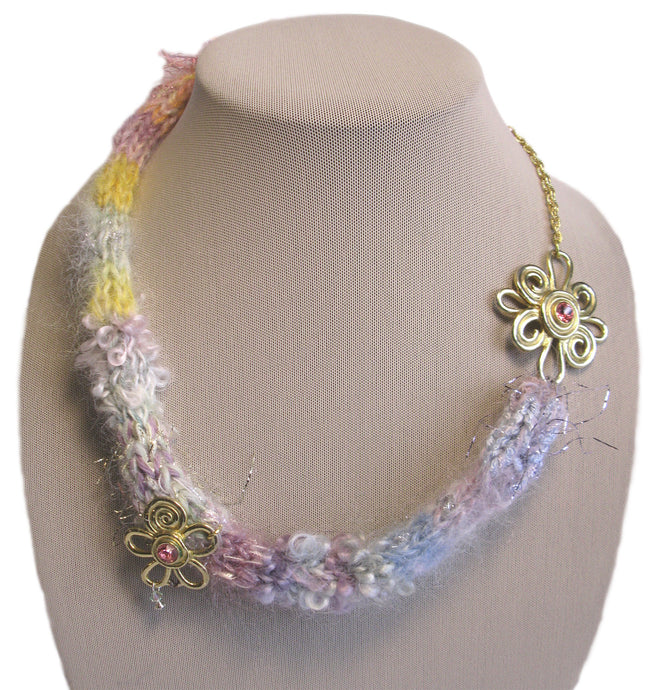 Multi-textured Art-Yarn Necklace in Opal (pastels with gold), with Recycled Embellishments