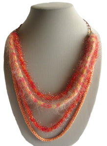 Multi-strand Art-Yarn Necklace in Orange Zest (orange/peach/coral), with Crystal Embellishment