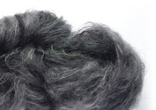 Load image into Gallery viewer, Hand-painted mohair-blend yarn in Overcast (deep silver-greys/smoky green/smokypurple)