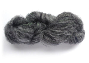 Hand-painted mohair-blend yarn in Overcast (deep silver-greys/smoky green/smokypurple)