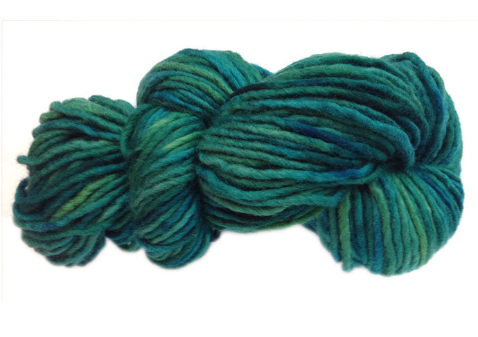 Hand-painted bulky-weight Australian Merino Wool yarn in Pacifica (deep blue-greens)