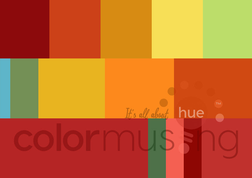 Market Tomatoes Color Palettes Curated Collection, instant-download set of 3 palettes, editable PSD/JPEG files