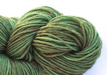 Load image into Gallery viewer, Hand-painted, luxury alpaca/silk fingering/sock yarn in Muted Peridot (soft bronze-greens)