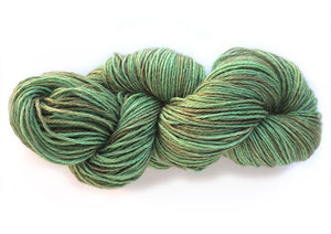 Hand-painted, luxury alpaca/silk fingering/sock yarn in Muted Peridot (soft bronze-greens)