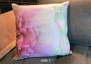 "Floral Pixel-print Pillow in Garden Party, 16"" square, custom textile, removable cover w/invisible zip"