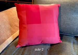 "Pixel-print Pillow in Rose Red, 16"" square, custom textile, removable cover w/invisible zip"