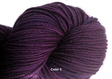 Load image into Gallery viewer, Hand-painted, color-sequence SET of 3 skeins, sparkly, luxury merino/silk yarn in Roseberry