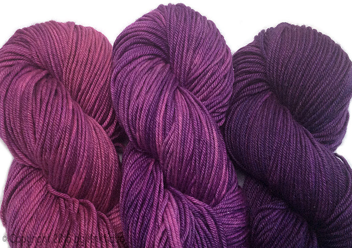 Hand-painted, color-sequence SET of 3 skeins, sparkly, luxury merino/silk yarn in Roseberry