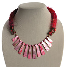 Load image into Gallery viewer, Multi-textured Art-Yarn Necklace in Ruby (deep reds), with MOP Bib & Pearls