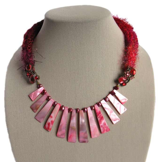 Multi-textured Art-Yarn Necklace in Ruby (deep reds), with MOP Bib & Pearls