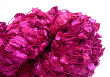Load image into Gallery viewer, Hand-painted, shiny novelty flag-style yarn in Pink Rubies (deep pink/fuchsia/red)