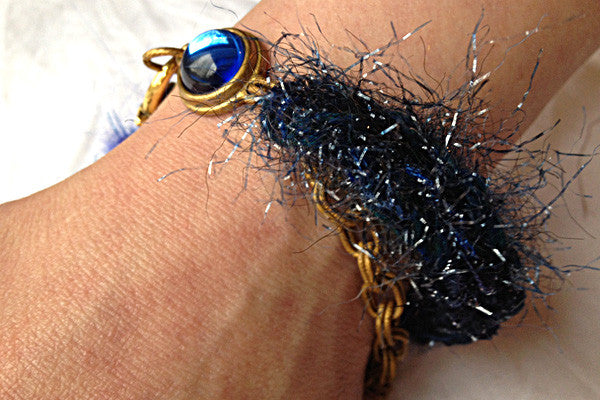 Multi-textured Art-Yarn Bracelet in Sapphire (deep blues), with Chain & Crystal