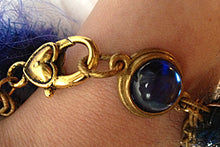 Load image into Gallery viewer, Multi-textured Art-Yarn Bracelet in Sapphire (deep blues), with Chain & Crystal