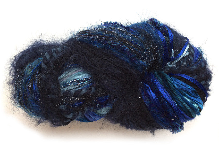 Scraplet Skeins multi-textured hand-tied yarn in Sapphire