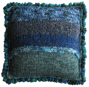 Diagonal Garter-stitch Pillow Hand-knitted Sample, Multi-textured with Ruffle Trim in Sapphire