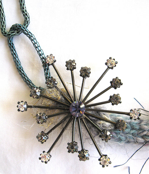 Multi-textured Art-Yarn Necklace in Stormy Sea (deep ocean blues), with Starburst Embellishment