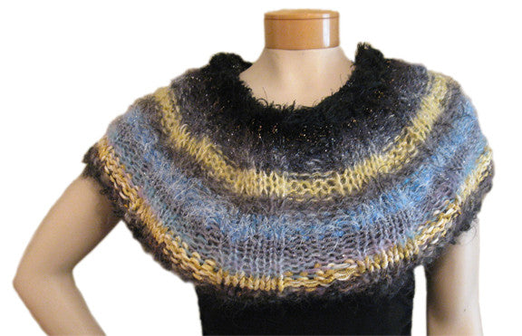 Reversible Capelet Hand-knitted Sample in Sunbreaks (greys/sky blue/sunshine/black)