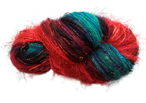Scraplet Skeins multi-textured hand-tied yarn in Caribbean Christmas