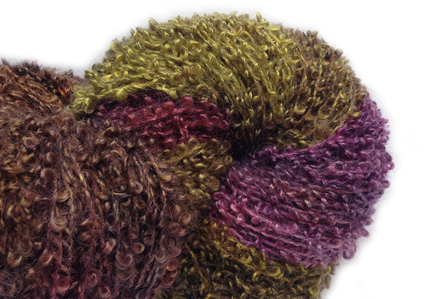 Hand-painted luxury silk/mohair-blend bouclé yarn in Watermelon Tourmaline