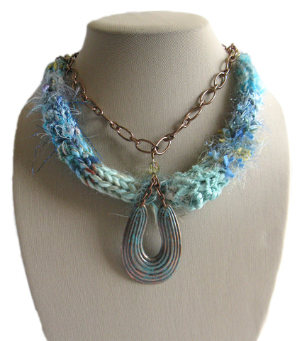 Multi-textured Art-Yarn Necklace in Turquoise (blue-greens), with Verdigris Pendant & Crystals