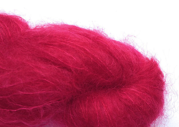 Hand-painted, super-soft mohair yarn in Valentine (red/pink/fuchsia)