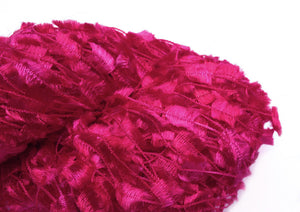 Hand-painted, shiny nylon novelty flag-style yarn in Valentine (red/pink/fuchsia)