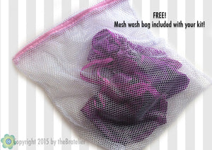 DIY bra + panty sewing KIT, coral/fuchsia/magenta, hand-dyed trims, save 15%, FREE wash bag included!