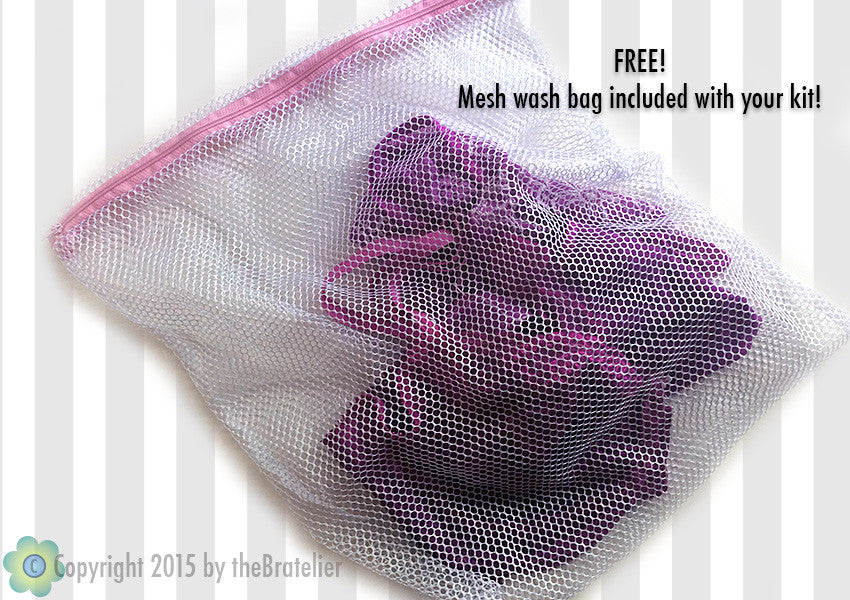 DIY Sheer White Lace-trimmed Bra Sewing Kit, Dyeable, FREE Wash Bag Included!