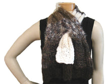 Load image into Gallery viewer, Scraplet Skeins Keyhole Scarf Hand-knitted Sample in Café Creme