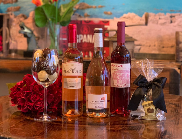 Valentine's Day, 3 Rosado wines and chocolate figs.