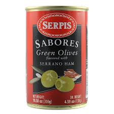 Serpis Green Olives Flavored with Serrano Ham